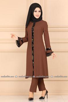 moda selvim Pul Payet Detaylı Takım 5110AY342 Taba Tabata, Payet, The Dress, Hijab Fashion, Indian Fashion, Indian Style, Model, Dresses, Hijab Dress