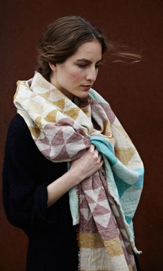 patchwork print wool scarf