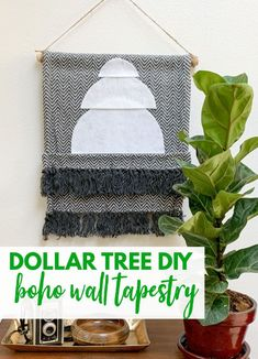 Get a cotton rug from Dollar Tree and create a fun boho wall tapestry! This Dollar Tree DIY could not be easier! It's great wall decor for a spot that needs a little something special, or even great DIY dorm decor! Diy Dorm Decor, Diy Wall Decor, Dorm Decorations, Dollar Tree Decor, Dollar Tree Crafts, Boho Tapestry, Wall Tapestry, Wooden Wall Art, Diy Wall Art