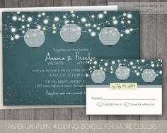 Paper Lanterns Wedding Invitations- Rustic Country Wedding Invitations with dangling lights- Outdoor Summer and Fall wedding Suite by NotedOccasions, $45.00
