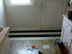 Before & After: Black and White Stripe Linoleum Floor