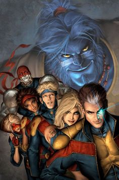 GeNext (Earth-41001) Beast, Olivier 'Raven' LeBeau (son of Gambit & Rogue), Meg Frost (daughter of Cyclops & Emma) Rico  Richards (grandson of Reed & Susan Richards), Becka Munroe (daughter of Storm), Ray LeBeau (daughter of Gambit & Rogue), No-Name (adopted by Gambit & Rogue), Pavel Rasputin (grandson of Colossus & son of Polaris)