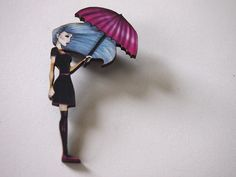 Pink Umbrella Girl Laser Cut Wood Brooch by HungryDesigns on Etsy