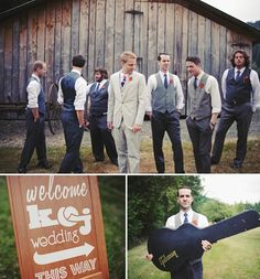 Cool guys... not totally diggin the groom's suit but love the groomsmen look.