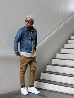 デニムジャケット着こなしメンズのデニムジャケット「HBNS HABANOS / HBNS ハバノス Denim Jacket - 」を使ったコーディネート Mens Tracksuit Set, Tracksuit Jacket, Denim Jacket Men, Denim Jeans Men, Dope Outfits, Bermuda, Minimalist Fashion, Men Casual, Menswear