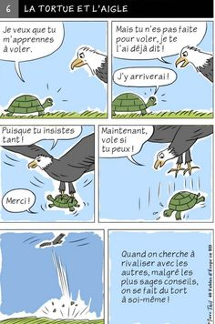 Fable d'Esope en BD - LA TORTUE ET L'AIGLE Fables D'esope, French Expressions, Teaching French, Idioms, French Language, Vocabulary, Knowledge, Classroom, Change