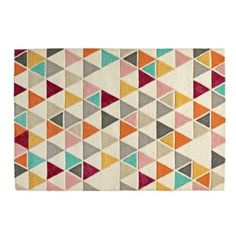 When it comes to this triangle rug, we're not trying to be obtuse.  We just think the multicolored triangles on this 100% wool rug will create acute look in your home.