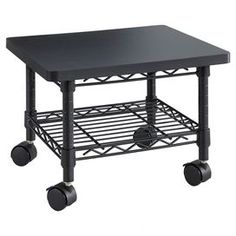 """Showcasing an openwork lower shelf and short design for under-desk storage, this versatile printer stand is the perfect addition to your study or office.   Product: Printer stand Construction Material: Steel  Color: Black  Features:  Supply shelf included Four wheels, two locking  Dimensions: 13.5"""" H x 19"""" W x 16"""" D"""