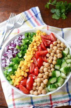 Corn and Chickpea Fiesta Salad with Cilantro-Lime Vinaigrette