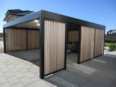 CTQ - Carport i kubistisk design - Cartop ApS Carport Sheds, Carport Plans, Carport Garage, Pergola Carport, Wooden Pergola, Shed Plans, Pergola Kits, Modern Carport, Modern Garage