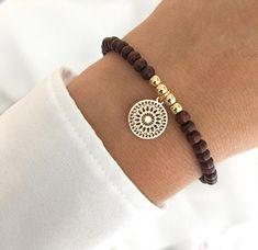 Beautiful bracelet wooden beads brown with mandala gold Gemstone Bracelets, Handmade Bracelets, Silver Bracelets, Jewelry Bracelets, Handmade Jewelry, Diamond Earrings, Jewelery, Couple Bracelets, Ankle Bracelets
