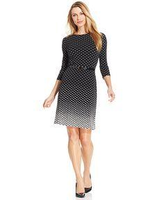 Charter Club Three-Quarter-Sleeve Polka-Dot Belted Dress