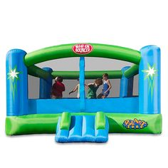Bring happiness and hours of play time to your home with the Blast Zone Big Ol' Bouncer Bounce House. This blue and green bounce house is large enough to house up to six kids. So if you are ho