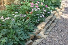 I really like this tiered garden edge of stones - much more interesting & effective than the row of cobble we have now....  It's nice to have the whole bed raised a bit, rather than sloping down to the path & lawn - feels like you're walking THROUGH the garden instead of past it!