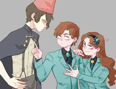 △ Gravity Falls- Reverse Falls △ crossover Over the Garden Wall Rev!Dipper, Rev!Mabel, and Wirt