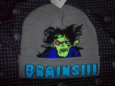 Free US Ship NWT BRAINS!!! Zombie Brain Eater Knit Beanie SKI HAT Hot Topic