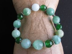 Green Aventurine and Jade Stretchy Bracelet by GoldCatJewelry, $7.00