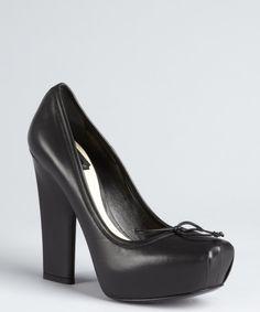 Christian Dior black leather stubbed toe platform 'Ballet' pumps