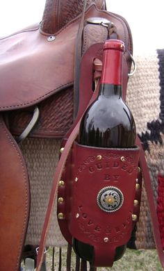 Handmade Custom Designed Leather Wine Bottle by SodaBrookTack, $60.00