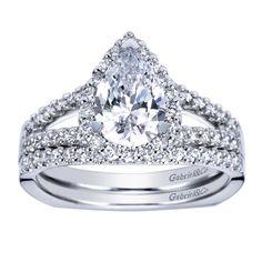 Tear drop diamond. Stunner from Gabriel & Co. More engagement rings at Raffi Jewellers in Waterloo, Ontario. #EngagementRing #GabrielCo