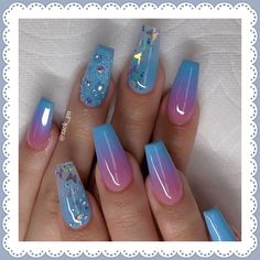 Chic Ombre Coffin Nails Designs In Summer - Nail Art Connect Cute Acrylic Nail Designs, Ombre Nail Designs, Nail Art Designs, Beautiful Nail Designs, Nails Design, Perfect Nails, Gorgeous Nails, Pretty Nails, Really Cute Nails