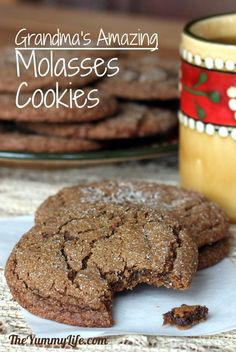 Grandma's Molasses Cookies. An old fashioned tried-and-true family favorite. TheYummyLife.com