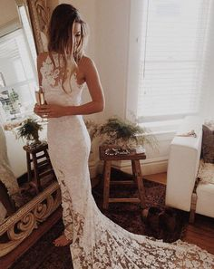 Romantic Boho Wedding Dresses,Beach Wedding Dress,High Neck Wedding Gowns,Mermaid White Dress,Princess Backless Lace Skirt Wedding Gowns