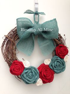 14 inch Grapevine Wreath, Red, White, & Teal Turquoise Burlap Flowers and Teal Bow, Rustic Primitive Teal Living Rooms, Turquoise Kitchen, Red And Teal, Red Turquoise, Red Christmas, Turquoise Christmas, Coastal Christmas, Christmas Wreaths, Christmas Decorations