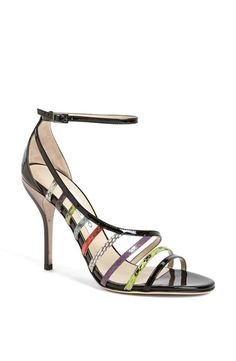 Neon straps add fun to this snakeskin open-side sandal | Jimmy Choo