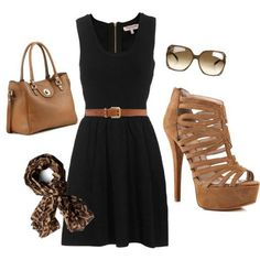 Casual black dress with brown accessories. Late summer/early fall outfit - I would wear with flat sandals, can't handle those high heels Fashion Mode, Look Fashion, Autumn Fashion, Fashion Outfits, Womens Fashion, Classic Fashion, Fashion Scarves, 1950s Fashion, Dress Fashion
