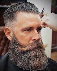 Featuring cool and edgy hairstyles for men with beards and the best all-natural hair and beard grooming products to achieve those styles. Proudly made in the USA. Viking Beard Styles, Long Beard Styles, Beard Game, Epic Beard, Men Beard, Great Beards, Awesome Beards, Moustache, Best Beard Balm