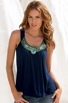 Embellished neckline tank in {productContextTitle} from {brandTitle} on shop.CatalogSpree.com, your personal digital mall.