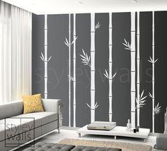 Bambou Wall Decal, bambou Tree Wall Decal, 100 pouces hauteur Set de 8 bambou tiges, décoration intérieure, vinyle Wall Art déco, décalque de salon bambou
