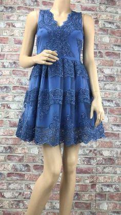 Modré krátke čipkované šaty s véčkovým výstrihom Dresses, Fashion, Vestidos, Moda, Fashion Styles, Dress, Fashion Illustrations, Gown, Outfits