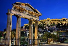Plaka and Acropolis by harisphoto.com Beautiful Ruins, Acropolis, Turkey Travel, Back In Time, Athens, Marina Bay Sands, Big Ben, Greece, The Past