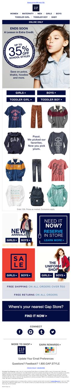 Gap for Kids Newsletter Ideas. Kids fashion ecommerce newsletter is quite good email marketing example #email #design #newsletter #emaildesign #newsletterdesign #inspiration #fashion #gap #kids