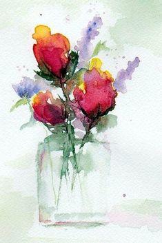 In a Vase Painting by Anne Duke - watercolor Watercolour Painting, Watercolor Flowers, Painting & Drawing, Watercolors, Painting Flowers, Flowers Vase, Watercolor Portraits, Watercolor Landscape, Simple Watercolor