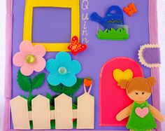 Quiet book, doll house book, busy book, felt book (6 pages)