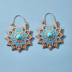 Beautiful blue shade earrings. Boho mandala lotus flower hoop style earrings. They are the perfect everyday earrings for any stylish gal! Made from high quality metal alloy, completely free from all nickel, zinc, lead and other irratants. Stone Earrings, Vintage Earrings, Women's Earrings, Fashion Earrings, Silver Earrings, Swarovski, Turquoise Blue Color, Hanging Jewelry, Stones And Crystals