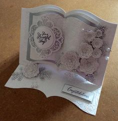 Wedding card designed last night using Sue Wilson dies Maggie, perfect peony and delicate fonds. Sue Wilson embossing folder. Presscut book die was used for the shape. All items available from the shop.
