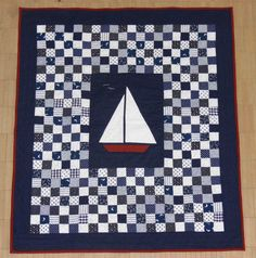 Kids boat applique quilt. Simple easy quilt pattern by TimelessThreadsSH