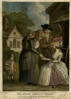 """The Gypsie Fortune-Teller"". A gipsy with a baby strapped to her back and an older child behind her, reading the palm of a young woman in genteel rustic dress, who sits outside a house on the right, knitting in her lap, watched by a man who smiles at her, one hand on her shoulder; a church in the background to left. 1783 hand-coloured mezzotint with some etching."