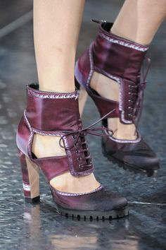 Mary Katrantzou Lace-Up Cut-Out Sandals Spring 2014 London Fashion Week  #Shoes #Heels #Booties