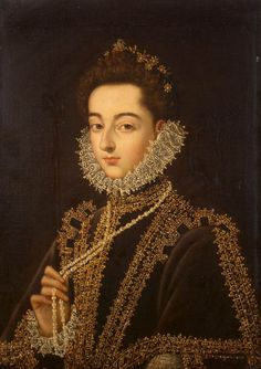 SANCHEZ COELLO, Alonso. Portrait of the Infanta Catalina Micaela 1582-85. Oil on canvas (The Hermitage, St. Petersburg)