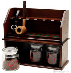 Pipe Accessories Two Cousins Tall 6 Pipe Stand With 3 Tobacco Jars Accessories at Smoking Pipes .com