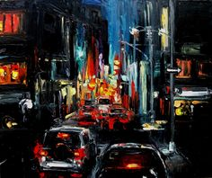 Faces of the City CVII - 24x30x1.5 abstract cityscape by Aja