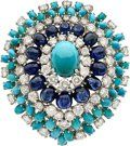 Diamond, Sapphire, Turquoise, White Gold Brooch, French The brooch features an oval-shaped turquoise cabochon - Available at 2014 April 29 Fine Jewelry. Pierre Turquoise, Shades Of Turquoise, Coral Turquoise, Turquoise Jewelry, Gemstone Jewelry, Aqua, Latest Jewellery Trends, Jewelry Trends, Jewelry Ideas