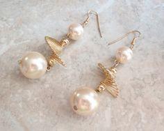 Faux Pearl Earrings Long Swirl Dangles Spiral Twist Vintage 121214RC by cutterstone on Etsy #shoulderdusters #pearldangles #spiralearrings #vintage