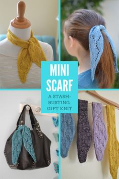 Mini Scarf PDF Knitting Pattern The perfect stash-busting gift knit! Just a little bit of fingering-weight yarn is needed for this mini scarf. Knitting Needles, Free Knitting, Free Crochet, Knit Crochet, Crochet Case, Kids Knitting, Crochet Hair Accessories, Crochet Hair Styles, Knitting Projects