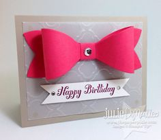 Bow & Bling Hand-Stamped Stampin' Up Birthday Card on Etsy, $3.50